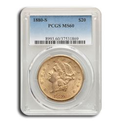 1880-S $20 Liberty Gold Double Eagle MS-60 PCGS