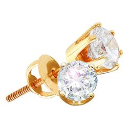 14kt Yellow Gold Unisex Round Diamond Solitaire Stud Earrings 7/8 Cttw