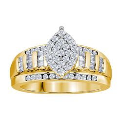14kt Yellow Gold Round Diamond Cluster Bridal Wedding Engagement Ring 1/2 Cttw