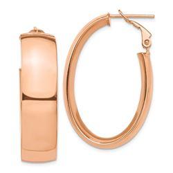 14k Rose Gold Omega Back Oval Hoop Earrings - 10 mm