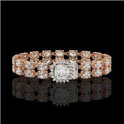 8.44 ctw Cushion Diamond Bracelet 18K Rose Gold