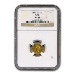 1856-S/S $1 Indian Head Gold XF-45 NGC (FS-501)