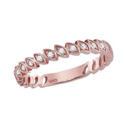 10kt White Gold Round Diamond Rose-tone Spiral Strand Crossover Band Ring 1/10 Cttw