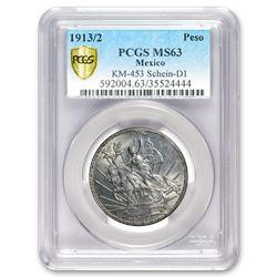 1913/2 Mexico Silver Peso Caballito MS-63 PCGS