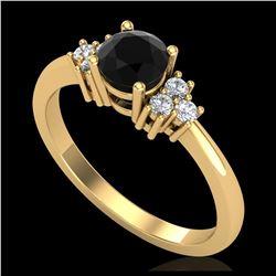 1.20 ctw Fancy Black Diamond Art Deco Ring 18K Rose Gold