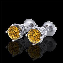 2 ctw SI/I Fancy Intense Yellow Diamond Ring 10K White Gold