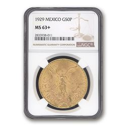 1929 Mexico Gold 50 Pesos MS-63+ NGC