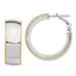 14k White Gold Accent Round Hoop Earrings - 9.5 mm