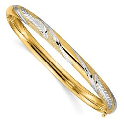 14K W/White Rhodium Diamond Cut Leaf Twist Bangle