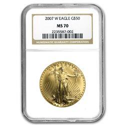 2007-W 1 oz Burnished Gold Eagle MS-70 NGC