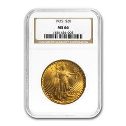 1925 $20 Saint-Gaudens Gold Double Eagle MS-66 NGC