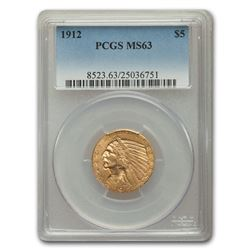 1912 $5 Indian Gold Half Eagle MS-63 PCGS
