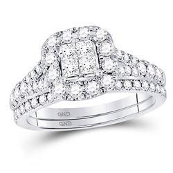 14kt White Gold Round Diamond Cluster Huggie Earrings 1/2 Cttw