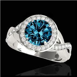 1.81 ctw Intense Blue Diamond Art Deco 3 Stone Ring 18K White Gold
