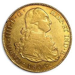 1806 PTS Bolivia Gold 8 Escudos Charles IIII XF