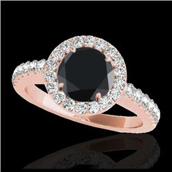 1.07 ctw Fancy Black Diamond Art Deco Ring 18K Rose Gold