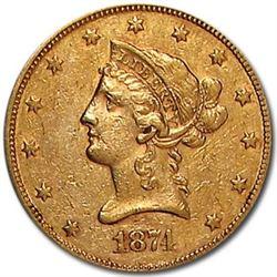 1874 $10 Liberty Gold Eagle XF