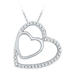 10kt Rose Gold Round Red Color Enhanced Diamond Heart Dangle Earrings 1/4 Cttw