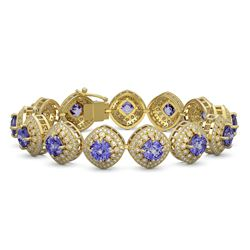 7.41 ctw Aquamarine & Diamond Halo Earrings 10K White Gold