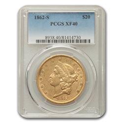 1862-S $20 Liberty Gold Double Eagle XF-40 PCGS