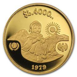 1979 Bolivia Gold 4000 Pesos Bolivianos Year of Child Proof