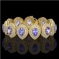 84.94 ctw Emerald & Diamond Halo Necklace 10K White Gold