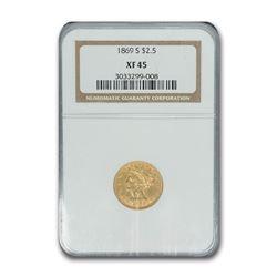 1869-S $2.50 Liberty Gold Quarter Eagle XF-45 NGC
