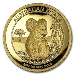2017 Australia 1 oz Gold Koala Proof (High Relief\, Box & COA)