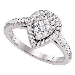 14kt White Gold Princess Diamond Cluster Bridal Wedding Engagement Ring Band Set 1.00 Cttw