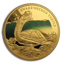 2020 Niue 1 oz Proof Gold Remarkable Reptiles Snake-Necked Turtle