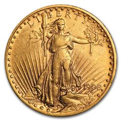 1908-D $20 Saint-Gaudens Gold Double Eagle w/Motto XF