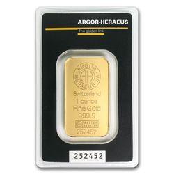 1 oz Gold Bar - Argor-Heraeus (In Assay)