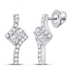 10kt White Gold Round Pave-set Diamond Square Kite Cluster Earrings 1/5 Cttw