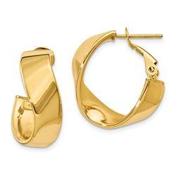 14k Gold Twisted Oval Hoop Earrings