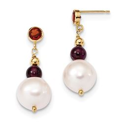 14k Garnet & 9-10 mm White Near Round C Pearl Leverback Earrings