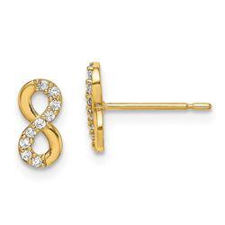 14k Infinity Symbol Cubic Zirconia Stud Earrings - 48 mm
