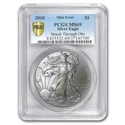 2010 Silver American Eagle MS-69 PCGS (Error\, Obv Struck Thru)