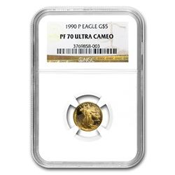 1990-P 1/10 oz Proof Gold American Eagle PF-70 NGC