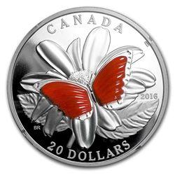 2016 Canada 1 oz Proof Silver $20 Butterfly Wings (w/Agate)