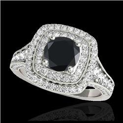 1.37 ctw SI Fancy Blue Diamond Halo Ring 10K Rose Gold