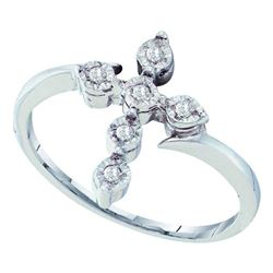 Sterling Silver Round Diamond Cluster Ring 1/10 Cttw