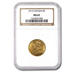1913 Canada Gold $5 MS-62 NGC