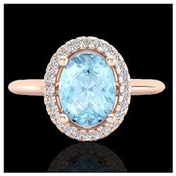 0.77 ctw Intense Blue Diamond Ring 10K Rose Gold