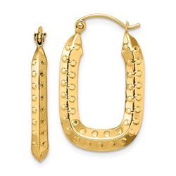 14k Yellow Gold Polished Textured Rectangle Hoop Earrings - 25 mm