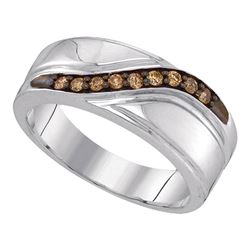 Yellow-tone Sterling Silver Round Diamond Infinity Ring 1/20 Cttw