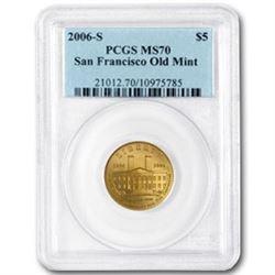 2006-S Gold $5 Commem San Francisco Old Mint MS-70 PCGS