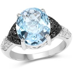 3.18 ctw Genuine Blue Sapphire .925 Sterling Silver Ring