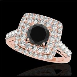1.35 ctw SI Fancy Diamond Bypass Solitaire Ring 10K White & Rose Gold