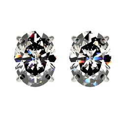 6.08 ctw Oval Diamond Earrings 18K White Gold