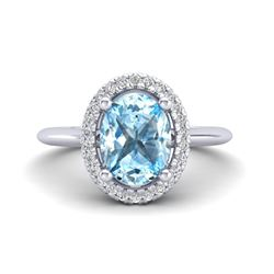 4.56 ctw Genuine London Blue Topaz & Swiss Blue Topaz .925 Sterling Silver Ring